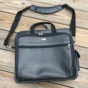 Targus Laptop Bag Black Leather Shoulder Strap